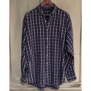 Ralph Lauren Blue Plaid Flannel Shirt Sz Large